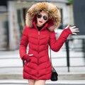 2017 Nueva Llegada moda mujer chaqueta de invierno por la chaqueta de algodón fack de manga larga Delgado cuello de piel con capucha abrigo de invierno de las mujeres parka