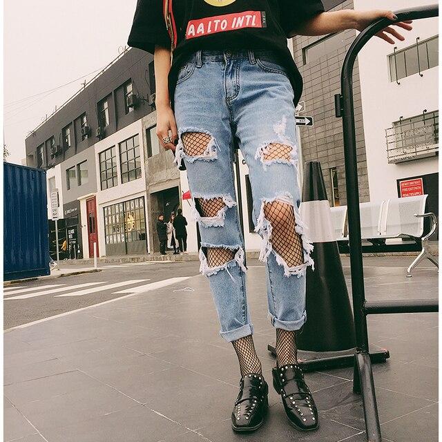 715cd65d8 € 17.13 |LYUSAN Verano 2017 Denim Ripped Jeans Rotos con Bordado Deprimido  Boyfriend Jeans Mujer Delgada Nueve Pantalones Rectos Mendigo en ...
