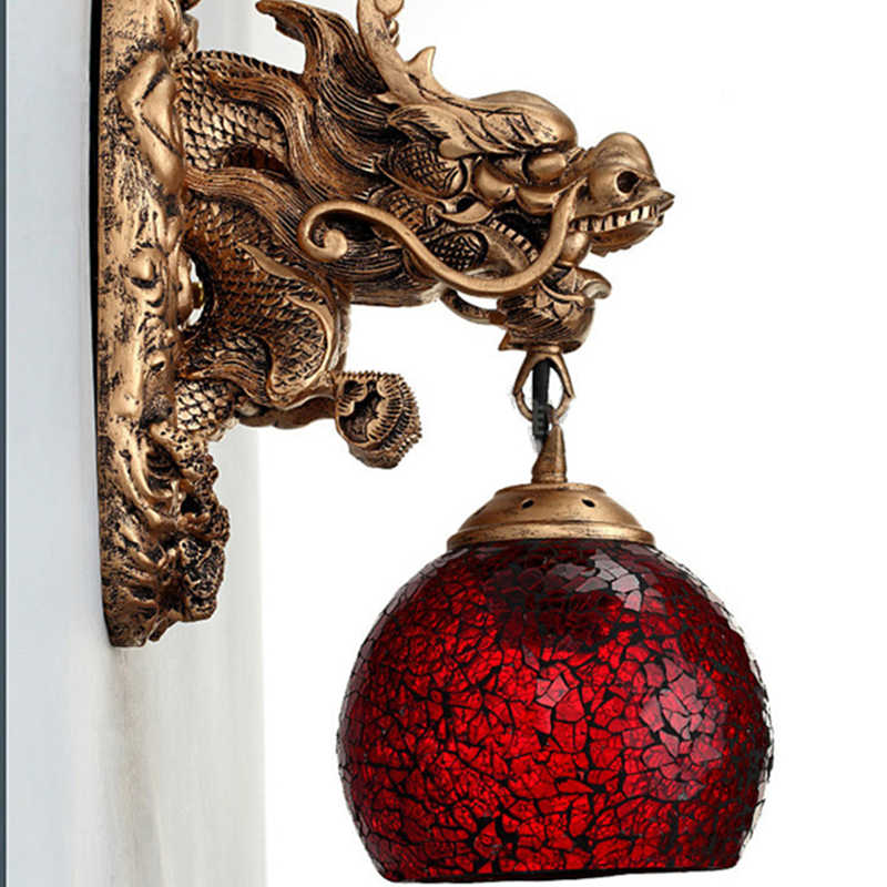 Vintage China Style Resin Dragon Wall Lamp Luxury Lighting E27 Glass Lampshade Home    Ming