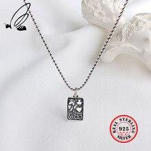 лучшая цена Thai Silver Vintage Geometric Square Pendant Necklace For Women Men 925 Sterling Silver Necklaces 44.5CM Beads Chain Jewelry