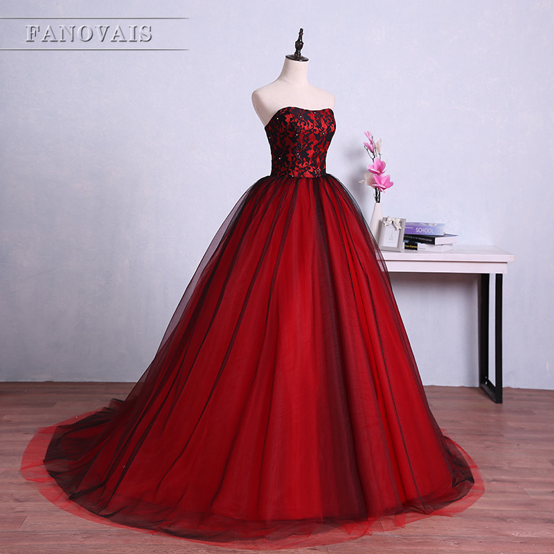 Red and Black Evening Dresses Saudi Style Strapless Evening Gowns ...