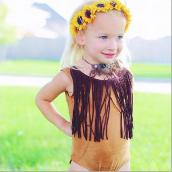 2018 Fashion Girl Tassel Bodysuit Baby Funny Baby Onesie Summer Toddler Girl Clothes Baby Sleeveless Bodysuit Markdown Sale