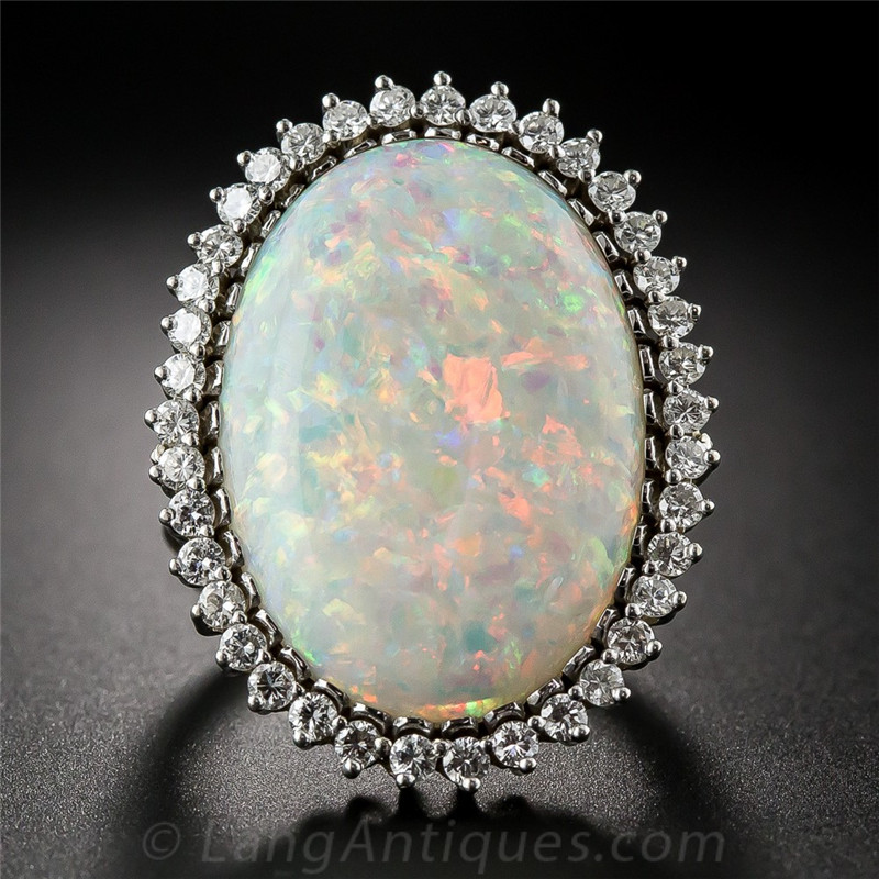 Large Fire Opal Stone Silver Color Ring Crystal Rings Bague Women