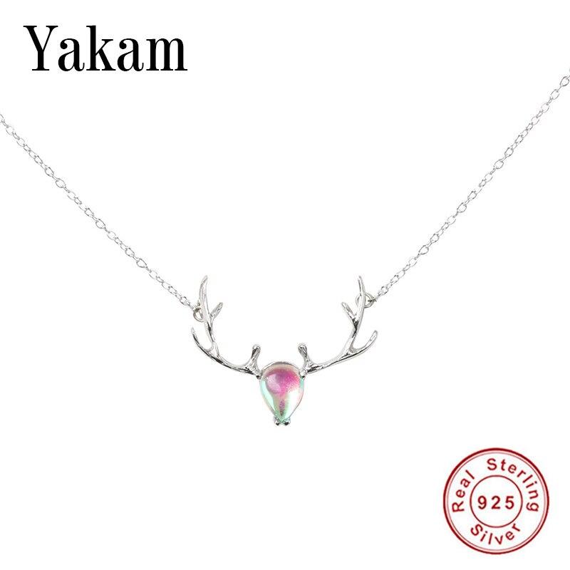 Genossenschaft S925 Sterling Silber Rosa Kristall Deer Antlers Halsketten Anhänger Für Frauen Kreative Baumeln Dame Mode Schmuck Geschenk Für Mädchen