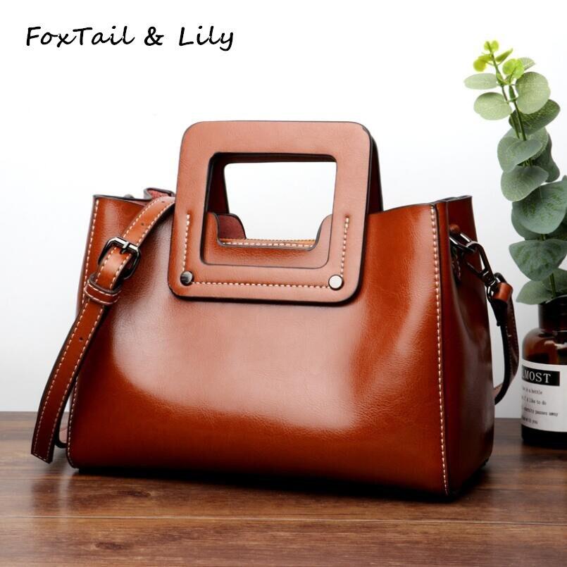 FoxTail & Lily Popular Brand Wax Leather Luxury Handbags Women Bags Designer Genuine Leather Shoulder Crossbody Bag High Quality