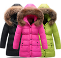 Girls Winter Coats 201 Brand Duck Down Girls Winter Jackets Fur Collar Long Kids Coat Solid Hooded Children Coat Girls 3-12Y