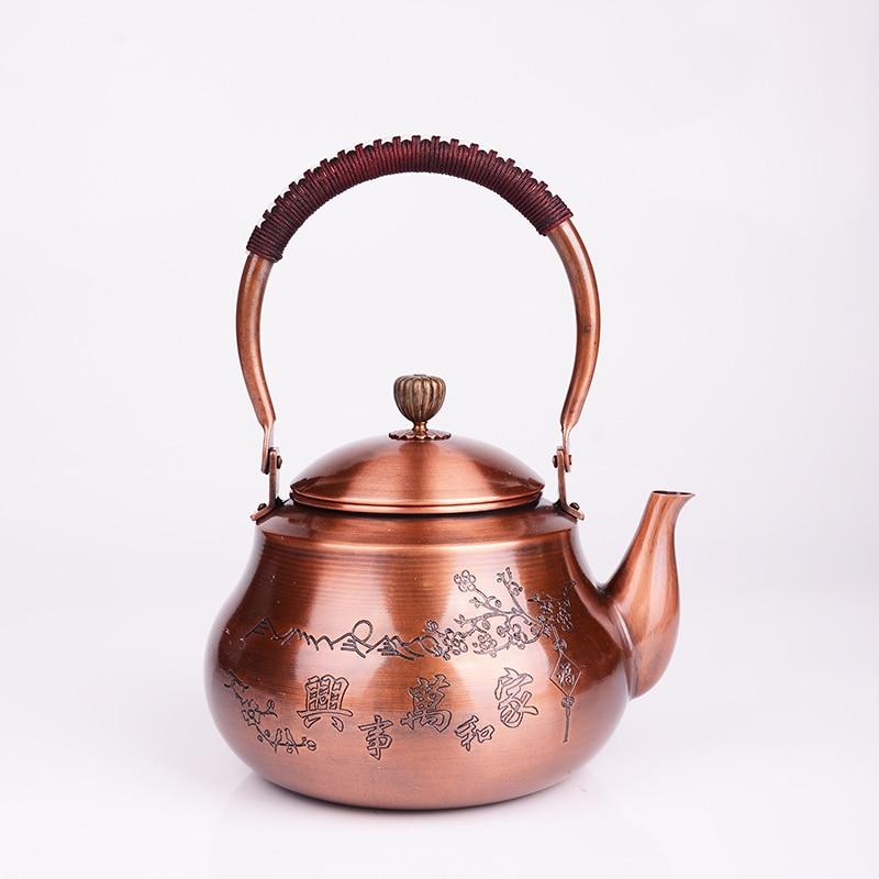 1.2L 手作り赤銅ティーポットガラスサモワールセラミック粘土からエナメルやかんエナメル金属プーアル茶ギフト日本  グループ上の ホーム&ガーデン からの ティーポット の中 2