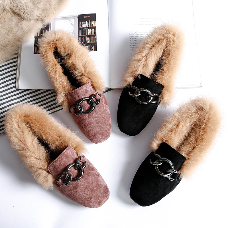 Fur Flats Shoes Moccasins Creepers Mules Rubber Oxford Suede Rabbit-Fur Furry Plush Winter