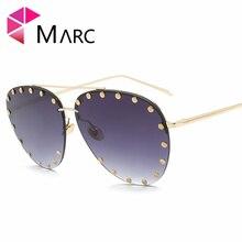Фотография MARC UV400 WOMEN Pilot metal sunglasses Polarized Gradient Blue Pink Sliver alloy