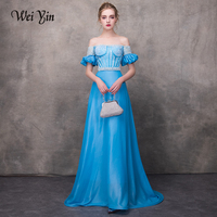 WEIYIN Prom Evening Dress Robe De Soiree Courte Light Blue Beading A Line Vintage Real Picture Sexy Middle East Arabic Lady Gown