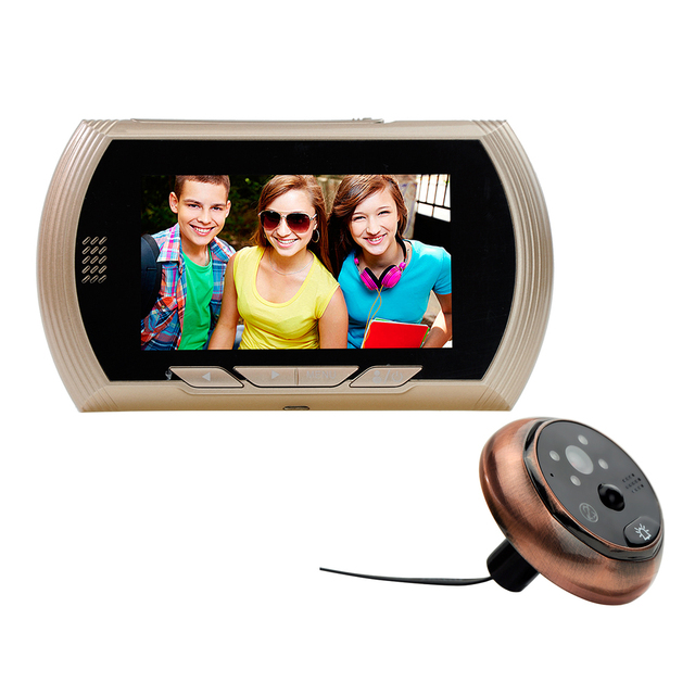 US $61 58 12% OFF| 4 3 Inch Real Time Monitoring Auto Photo Motion  Detection Peephole Viewer Video Door Phone -in Doorbell from Security &  Protection