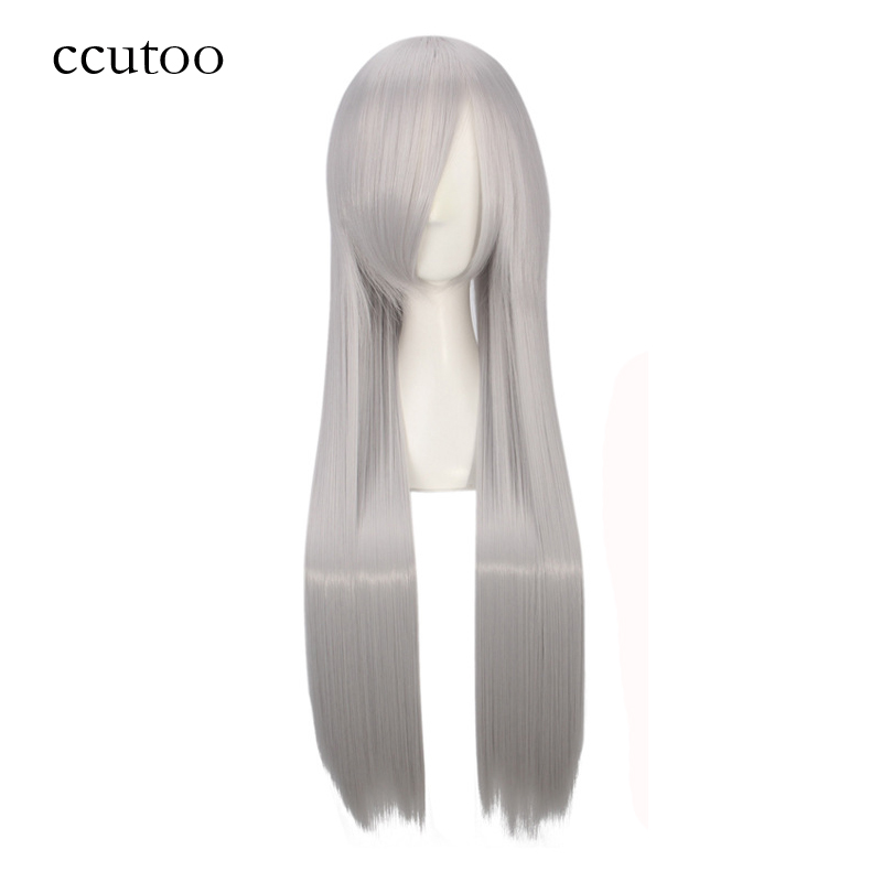 Ccutoo 80cm 32inch Long Straight Silver White Synthetic Hair Elastic Lace Cosplay Full Wigs High Temperature Fiber Hair
