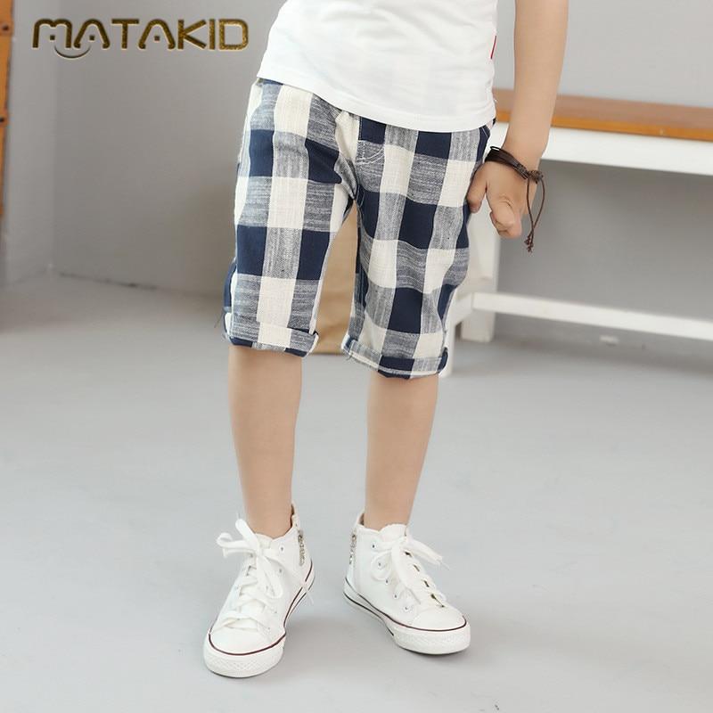 2017 New Summer Cotton Linen Casual Shorts for boys Children Fashion Plaid shorts big kids good