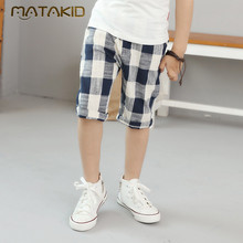 2017 New Summer Cotton Linen Casual Shorts for boys Children Fashion Plaid shorts huge children good high quality Boys Shorts For Age Four-14