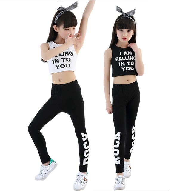 Trẻ em Thư Crop Tank Tops Legging Hai Mảnh Đặt Cho Cô Gái Mùa Hè Phong Cách Tuổi Teen Cô Gái Hip Hop Quần Áo 10 12 14 16 18 năm