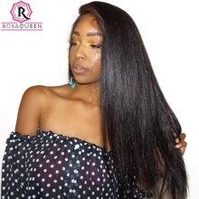 250% плотность Синтетические волосы на кружеве Человеческие волосы Искусственные парики для черный Для женщин прямо предварительно сорвал с ребенком волос бразильского Кружево парик роза Queen Remy