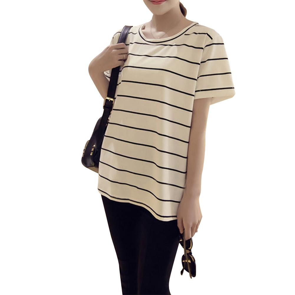 Korean Style Casual T-shirt Classic Simple Casual Loose Striped Round Neck Short-sleeved Top for Women's