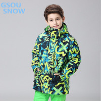 Gsou snow for boys winter clothes for children warm clothes ski suit windproof waterproofing Thicken outdoor sports wear