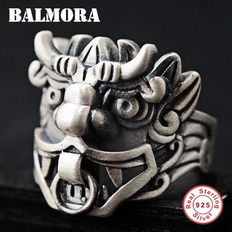BALMORA 925 Sterling Silver Ancient Chinese Animal Dragon Rings for Men Vintage Ethnic Ring Thai Silver Jewelry Anillos SY21551 fashion chinese ancient god pattern wacky tie for men