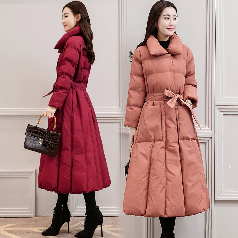 Down Women Long Winter   Parkas   New Fashion Slim Over The Knee Thick A-Line Solid Color Padded Warm Femme Winter Coat MZ3163