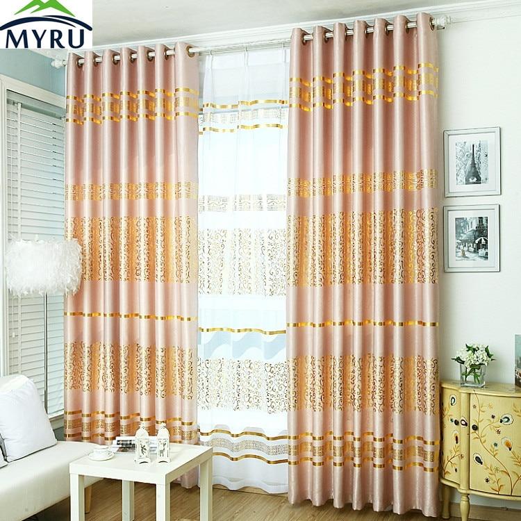 MYRU Simple Fashion Custom Curtain Windows Curtains Gold