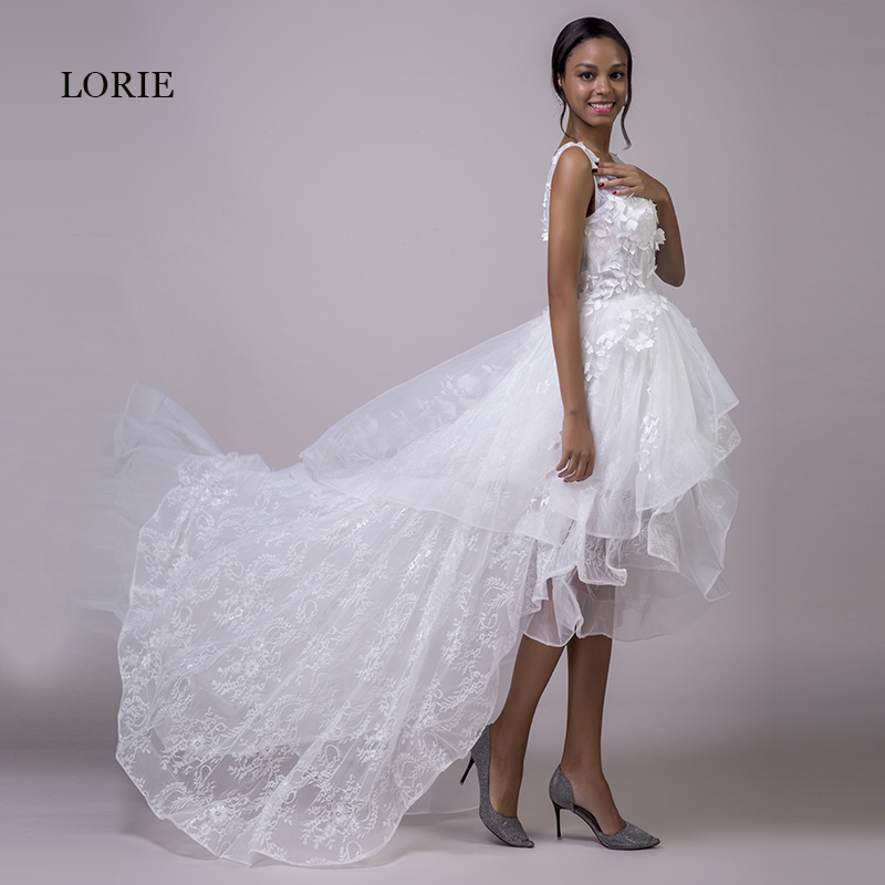 Lorie short wedding dress long back v neck lace high low for Cheap wedding dresses bay area