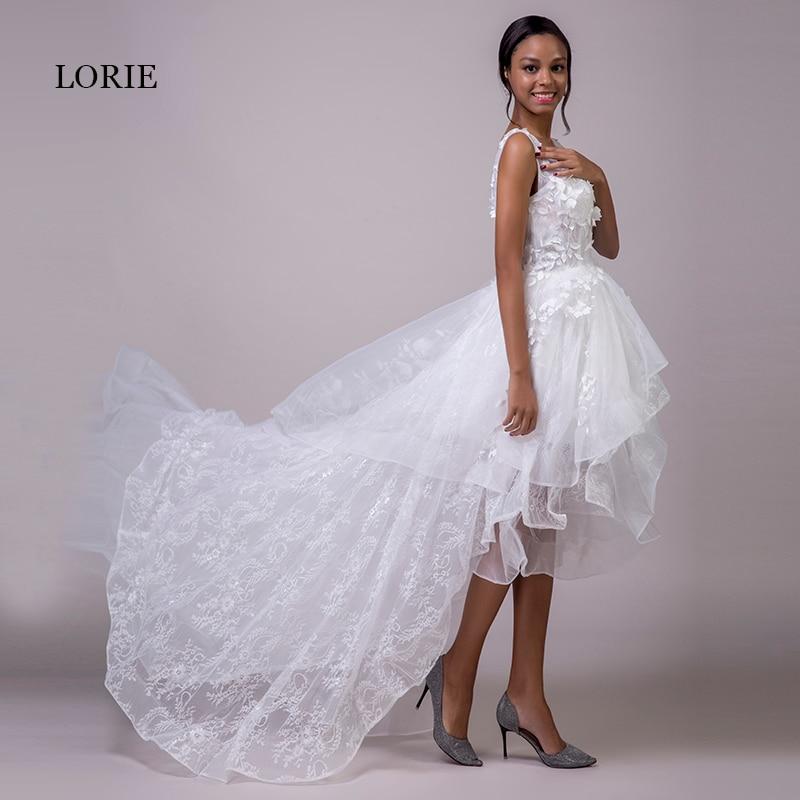 LORIE Short Wedding Dress Long Back V Neck Lace High Low