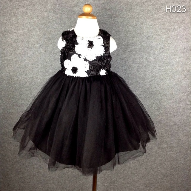 c131348ae1 Brand Flower Baby Girls Dress White Black Lace Girl Party Wedding Dresses  SIze 3-24M