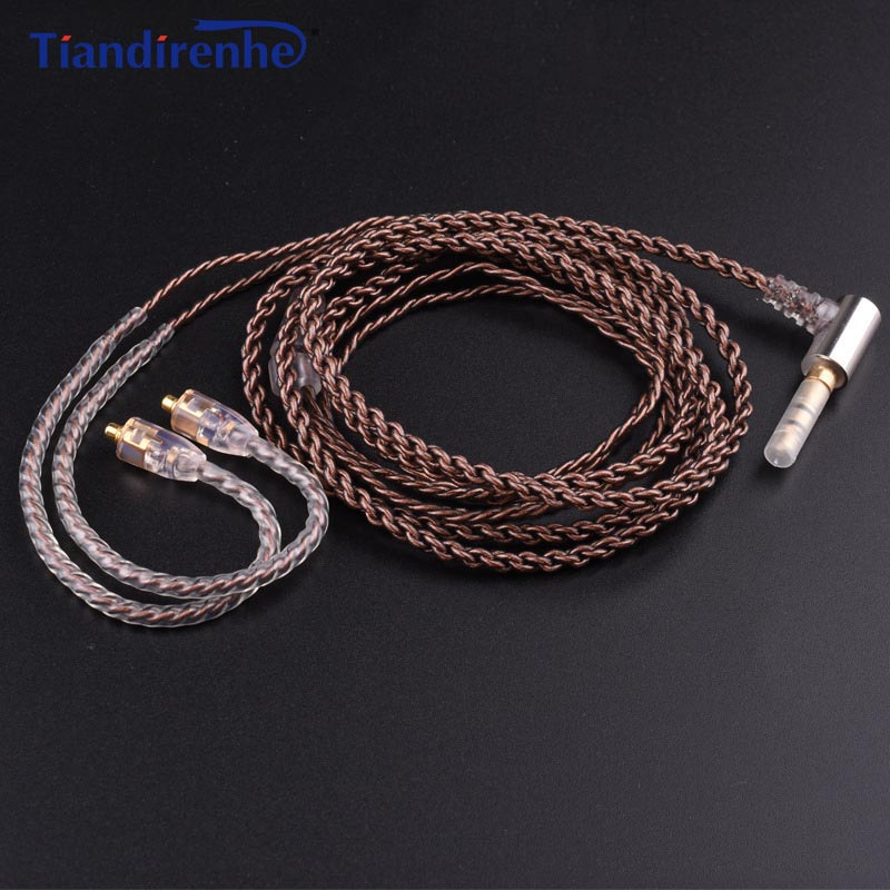 Tiandirenhe Upgrade DIY MMCX Cable for Shure SE215 SE425 SE535 SE846 Earphone Headphone AUX 35mm Wire with Heat Shrink Tubing