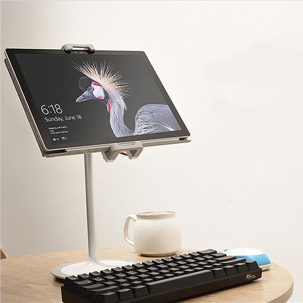 Aluminum Alloy Desktop Stand for 4.7 to 12.9 inch Phone Tablet 360 Degree Rotation Clip Liftable Strut Holder for iPad 2 3 4 min 180 degree rotation suction cup holder w silicone back clip for iphone 4 4s 5 ipad mini ipod