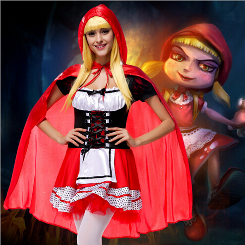 free shipping  New Fashion Halloween Costume Adult Women Fantasy Costume Ladies Little Red Riding Hood Costumes