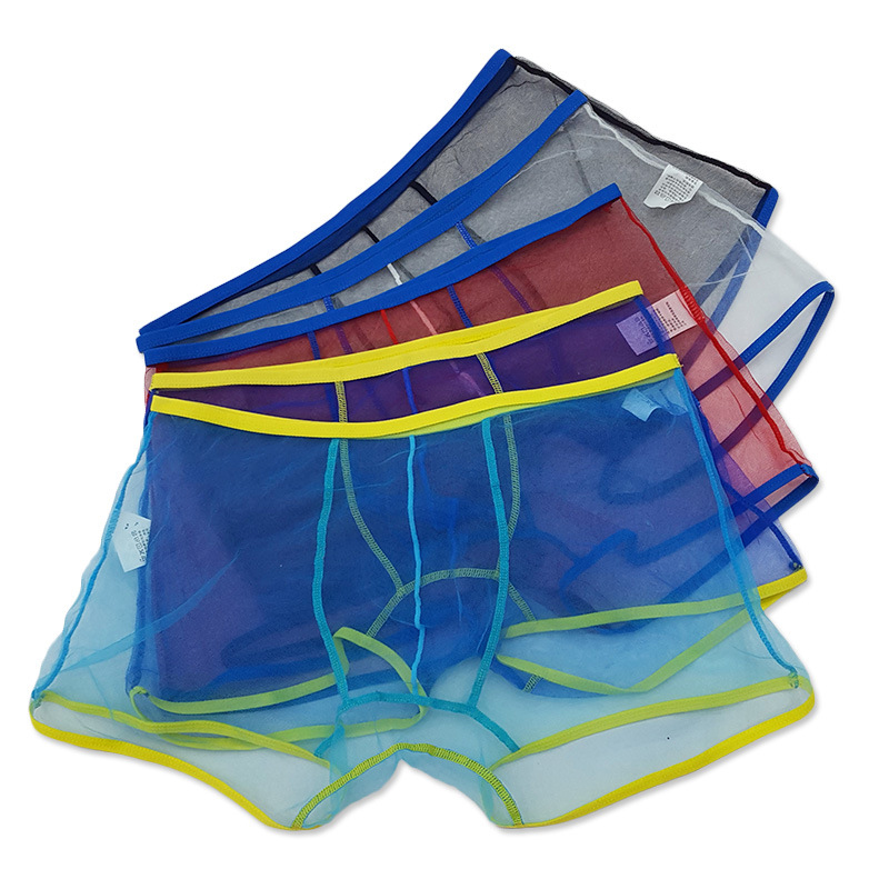 Sexy Lingerie Transparent Underwear Mens Boxers Breathable Low Waist See Through Net Yarn Boxer Shorts Panties Cueca Masculina