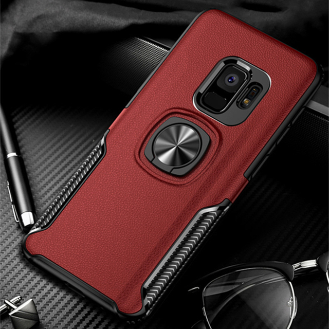 Leather Texture Stand Case For Samsung Galaxy S9 S8 Plus Note 9 8 Ring Holder Car Magnetic TPU Armor Cover For J4 J6 J8 A8 2018