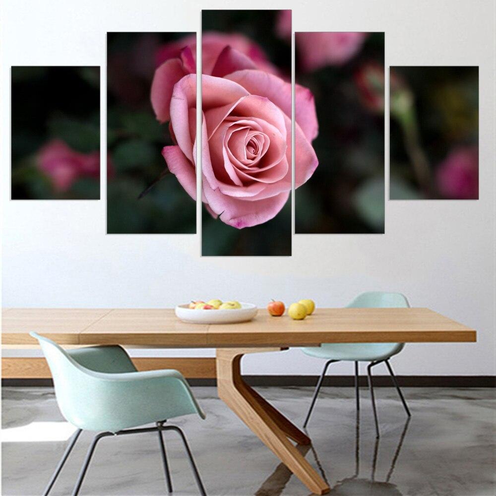 Modular pintura al óleo unframed rosa flores único fower pintura ...