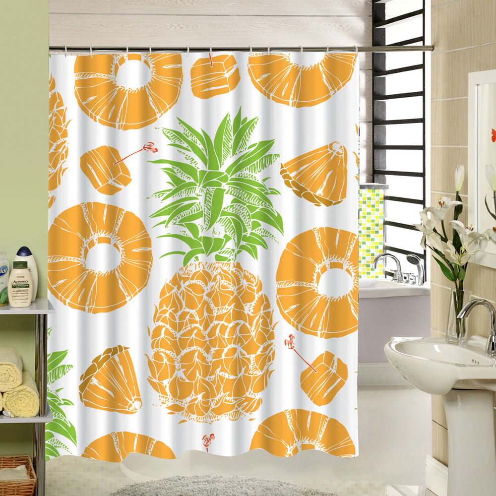 Fabric Shower Curtain Pineapple Fruit Pattern Polyester Fabric 3d Print Bathroom Curtain White and Yellow