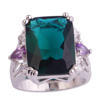 lingmei Cocktail Rings Huge Emerald Quartz Amethyst 925 Silver Ring Jewelry For Women Size 7 8 9 10 European Style Wholesale