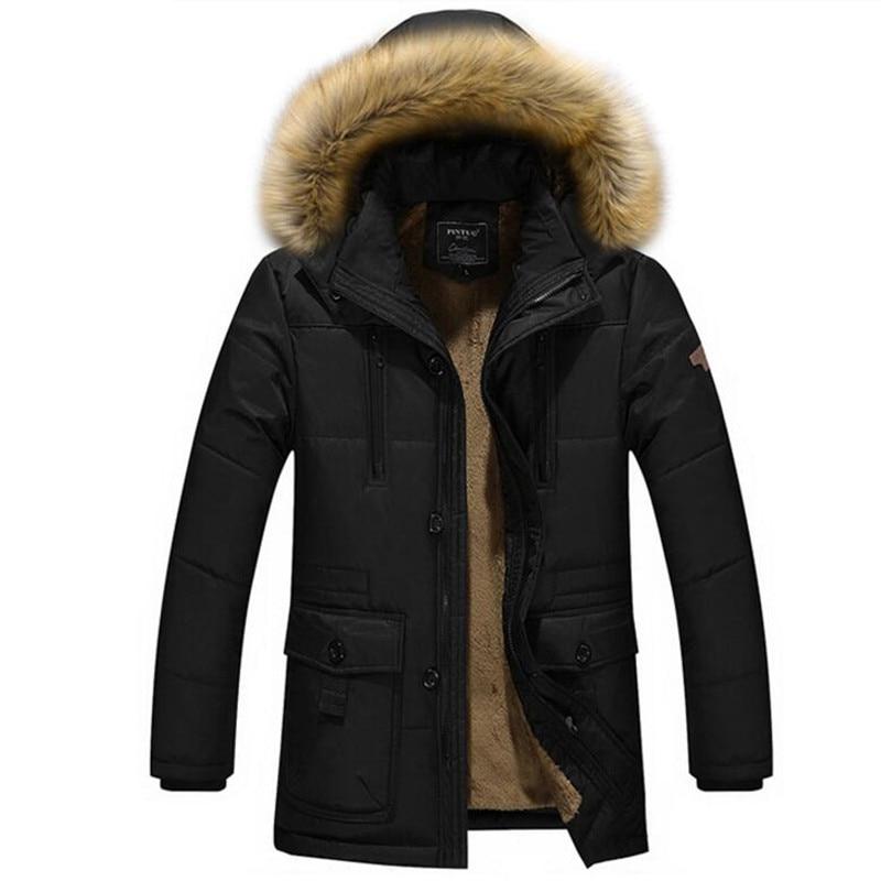 2019 Men Winter Long Jacket Warm Parka Thicken Fleece Padded Slim Fit Coat Snow Windbreaker Male Overcoat Plus Size 4XL 5XL