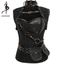 Black Womens Spiral Steel Boned Goth Retro Overbust Steampunk Bustier Corset With Jacket Plus Size 926#