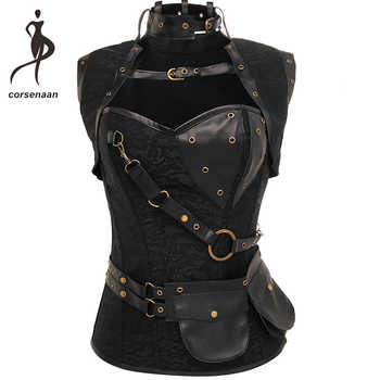 Black Women's Spiral Steel Boned Goth Retro Overbust Steampunk Bustier Corset With Jacket Plus Size 926# - DISCOUNT ITEM  6% OFF All Category