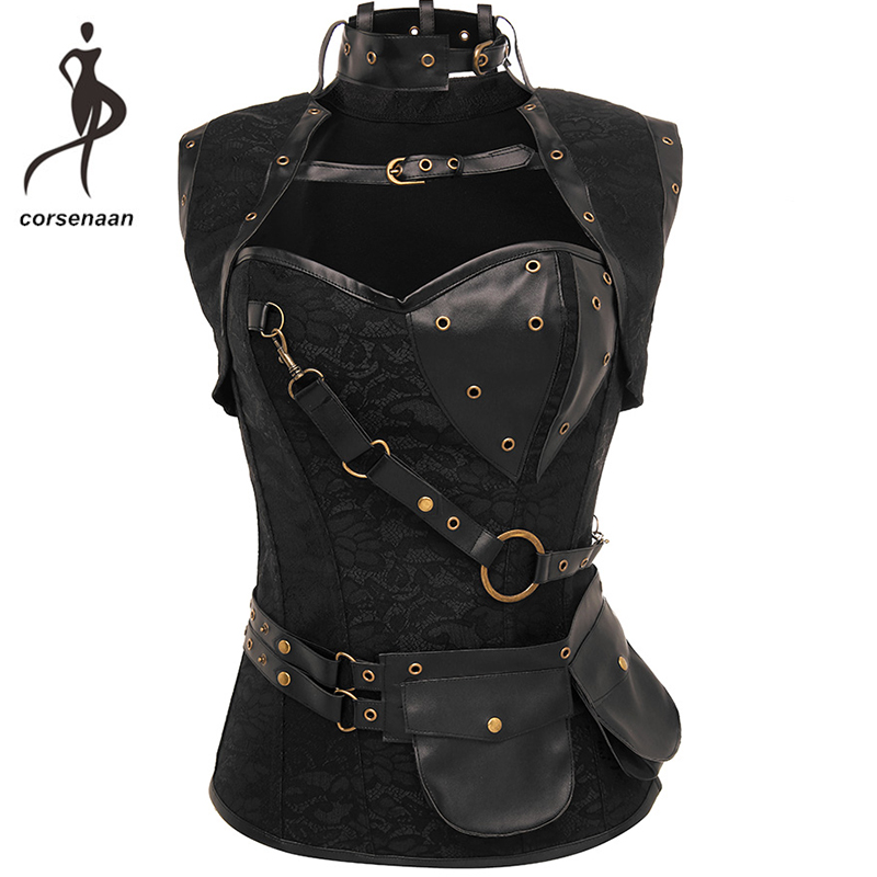 Black Women's Spiral Steel Boned Goth Retro Overbust Steampunk   Bustier     Corset   With Jacket Plus Size 926#