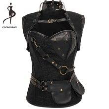 Czarne damskie spiralne stalowe bez kości Goth Retro Overbust Steampunk gorset gorset z kurtką Plus rozmiar 926 #