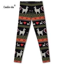 CANDICE ELSA leggings women elastic sexy fitness legging alpaca printed workout female pants plus size wholesale