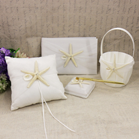 Bridal Shower Starfish Flower Basket White Stain Pear Ring Pillow Wedding Party Decoration Guest Book Set Bridal Accessories