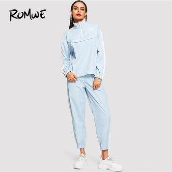 ROMWE Zip Ön Fırfır Ceket Pantolon Co-Ord Iki Parça 2019 Bahar Sonbahar Standı Yaka 2 Adet Set Kadın uzun Kollu 2 parça