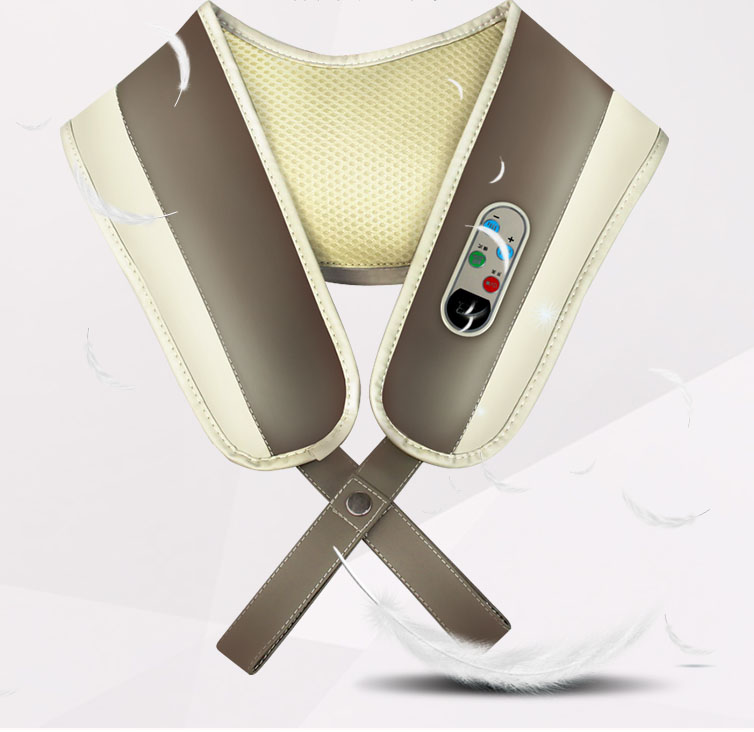 Neck Shoulder Taping Knocking Kneading Massager Belt Cervical Shiatsu Massage Heating Vibrating massage Full Body Massager heating massage belt with cape dual heated full body multifunctional neck cervical vertebra belt free shipping