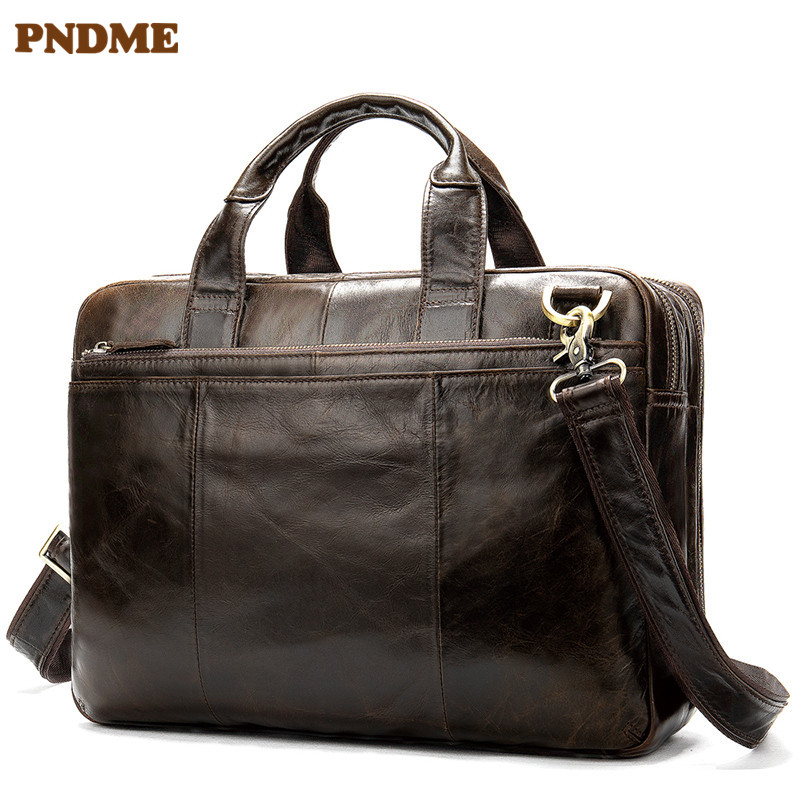 PNDME Men's First Layer Cowhide Handbags Business Soft Genuine Leather Waterproof Retro Briefcase Large Capacity Computer Bag