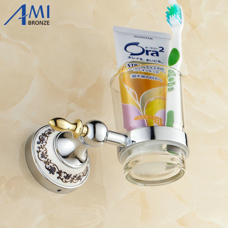 Chrome Stainless steel Toothbrush Holder Cup Tumbler Wall Mounted Bathroom Accessories 7006CP image