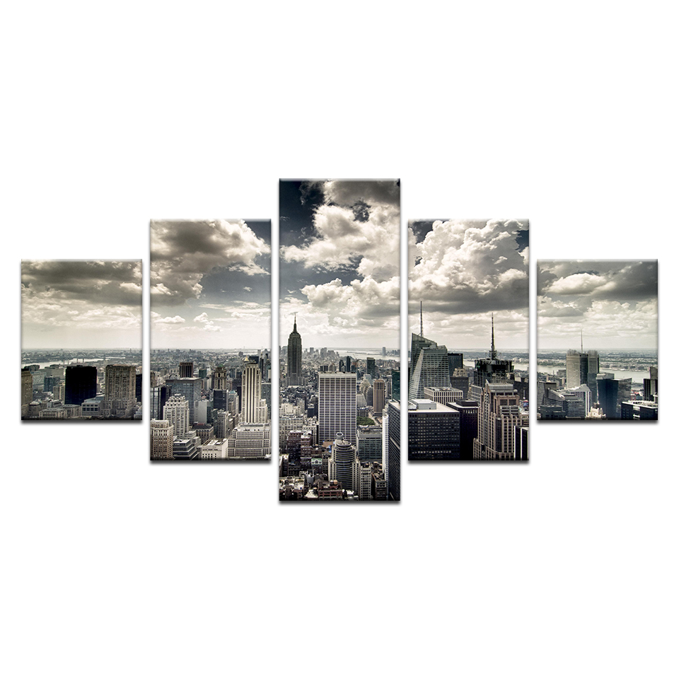 New York City Modern Canvas Painting Print Picture Home: 5 Pieces New York City Building Wall Art Picture Home