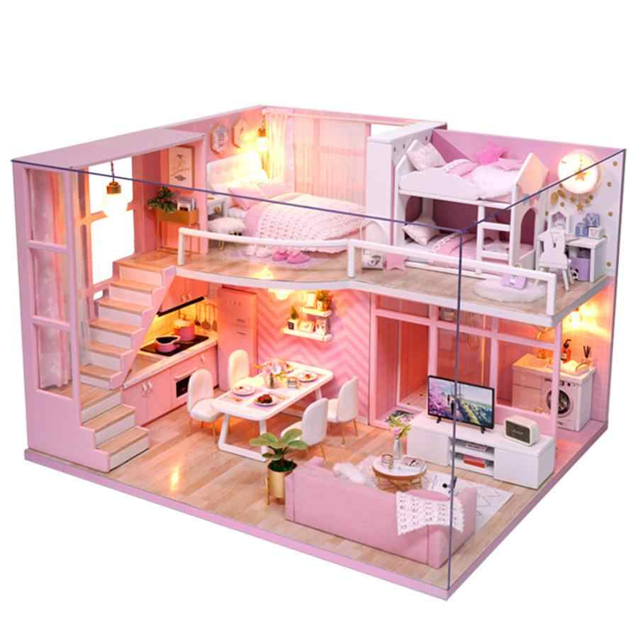 DIY Dool House Handmade Miniature Pink Girl Wooden Doll House Model Kits Toy for Daughter's Wonderful Gift