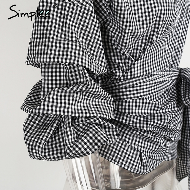 Simplee Ruched sleeve wrap white blouse shirt Women casual blouse off shoulder Plaid shirt top V neck female blusas bow tie